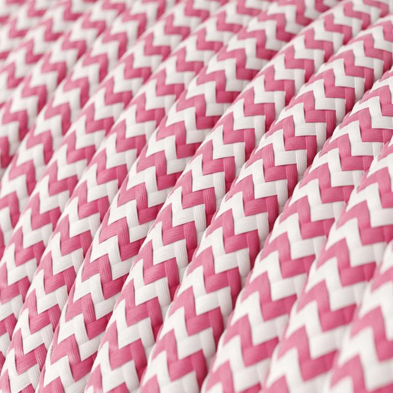 Okrúhly textilný elektrický kábel, umelý hodváb, CikCak, RZ08 Fuchsiová