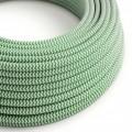 Okrúhly textilný elektrický kábel, umelý hodváb, CikCak, RZ06 Zelená