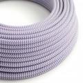 Okrúhly textilný elektrický kábel, umelý hodváb, CikCak, RZ07 Lila