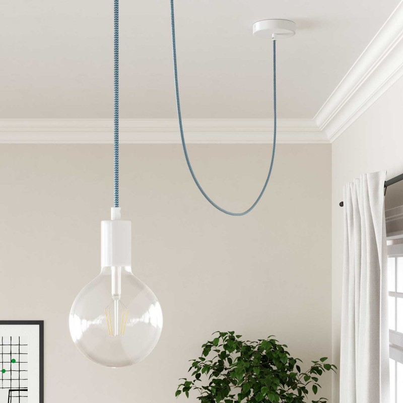 Okrúhly textilný elektrický kábel, umelý hodváb, CikCak, RZ11 Tyrkysová