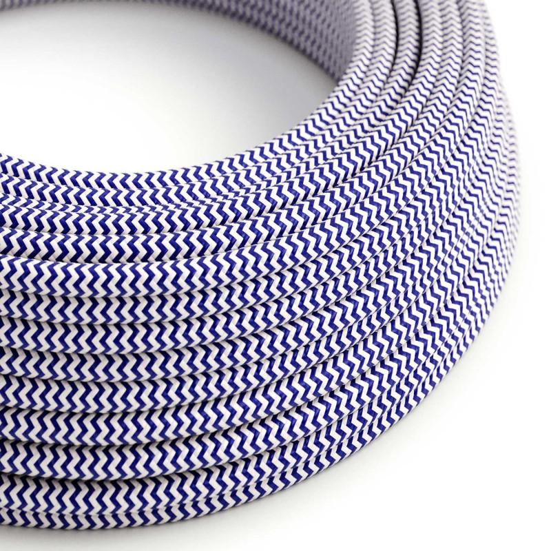 Okrúhly textilný elektrický kábel, umelý hodváb, CikCak, RZ12 Modrá