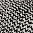 Okrúhly textilný elektrický kábel, umelý hodváb, CikCak, RZ04 Čierna