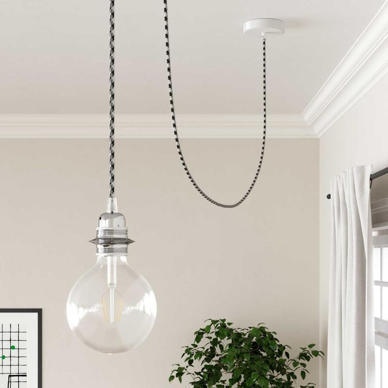 Okrúhly textilný elektrický kábel, umelý hodváb, dvojfarebný, TO212 Čierna