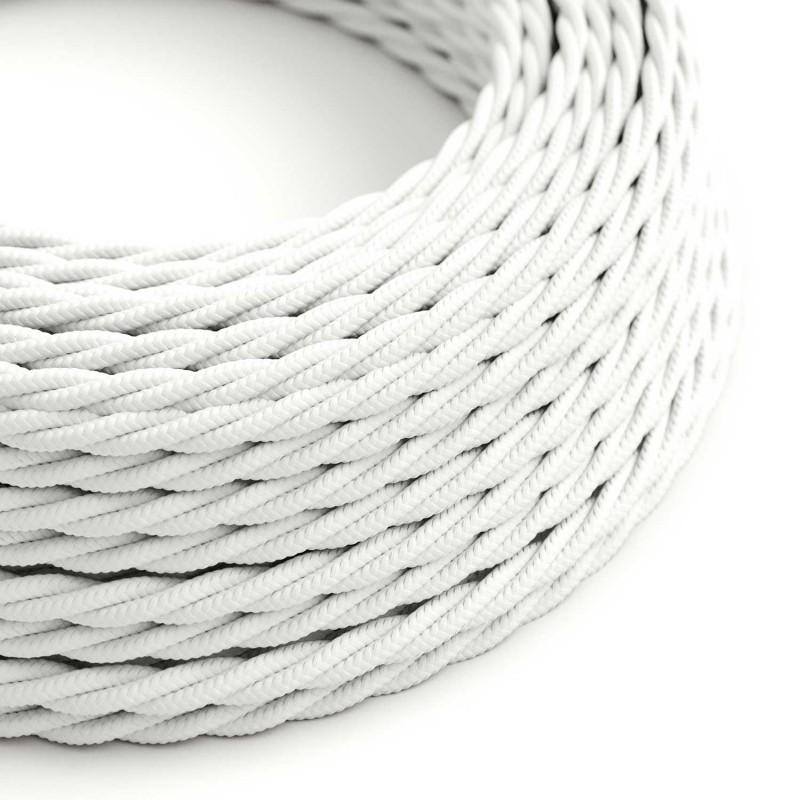 Stočený textilný elektrický kábel, umelý hodváb, jednofarebný, TM01 Biela