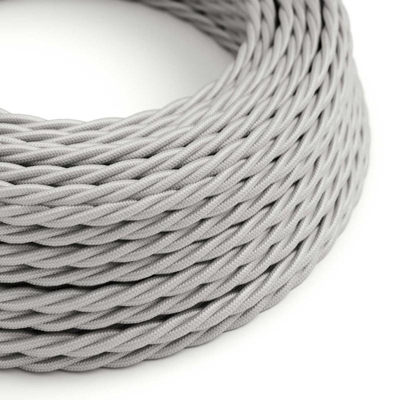 Stočený textilný elektrický kábel, umelý hodváb, jednofarebný, TM02 Strieborná
