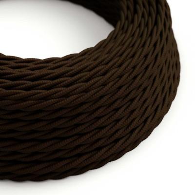 Stočený textilný elektrický kábel, umelý hodváb, jednofarebný, TM13 Hnedá