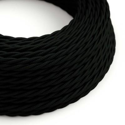 Stočený textilný elektrický kábel, umelý hodváb, jednofarebný, TM04 Čierna