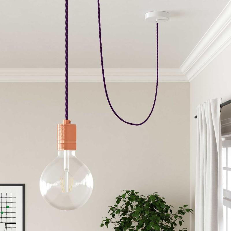 Stočený textilný elektrický kábel, umelý hodváb, jednofarebný, TM14 Fialová