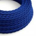 Stočený textilný elektrický kábel, umelý hodváb, jednofarebný, TM12 Modrá