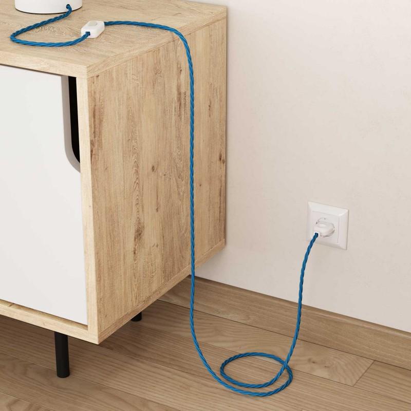 Stočený textilný elektrický kábel, umelý hodváb, jednofarebný, TM11 Tyrkysová