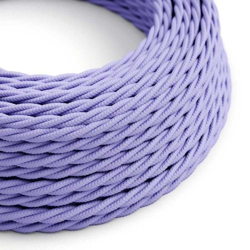 Stočený textilný elektrický kábel, umelý hodváb, jednofarebný, TM07 Lila