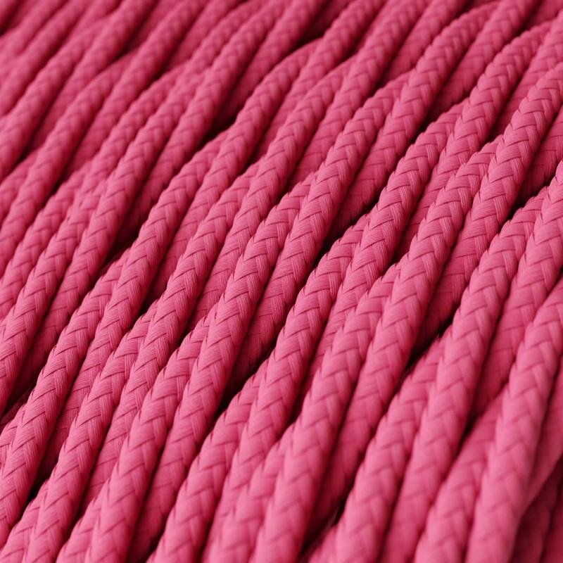 Stočený textilný elektrický kábel, umelý hodváb, jednofarebný, TM08 Fuchsiová