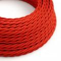 Stočený textilný elektrický kábel, umelý hodváb, jednofarebný, TM09 Červená