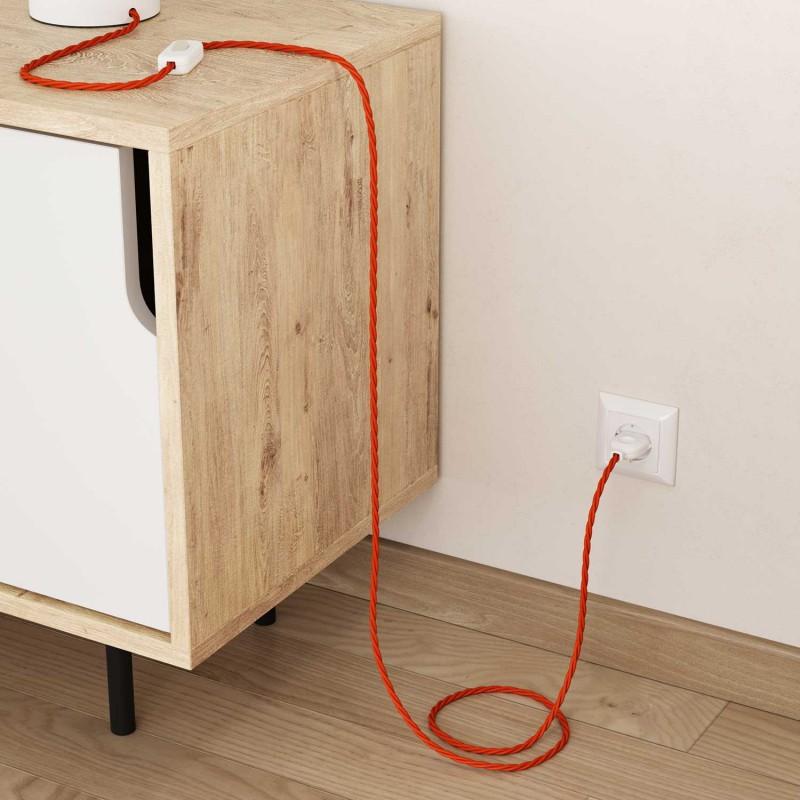 Stočený textilný elektrický kábel, umelý hodváb, jednofarebný, TM15 Oranžová
