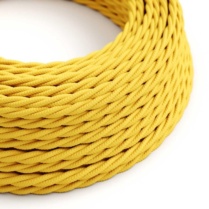Stočený textilný elektrický kábel, umelý hodváb, jednofarebný, TM10 Žltá