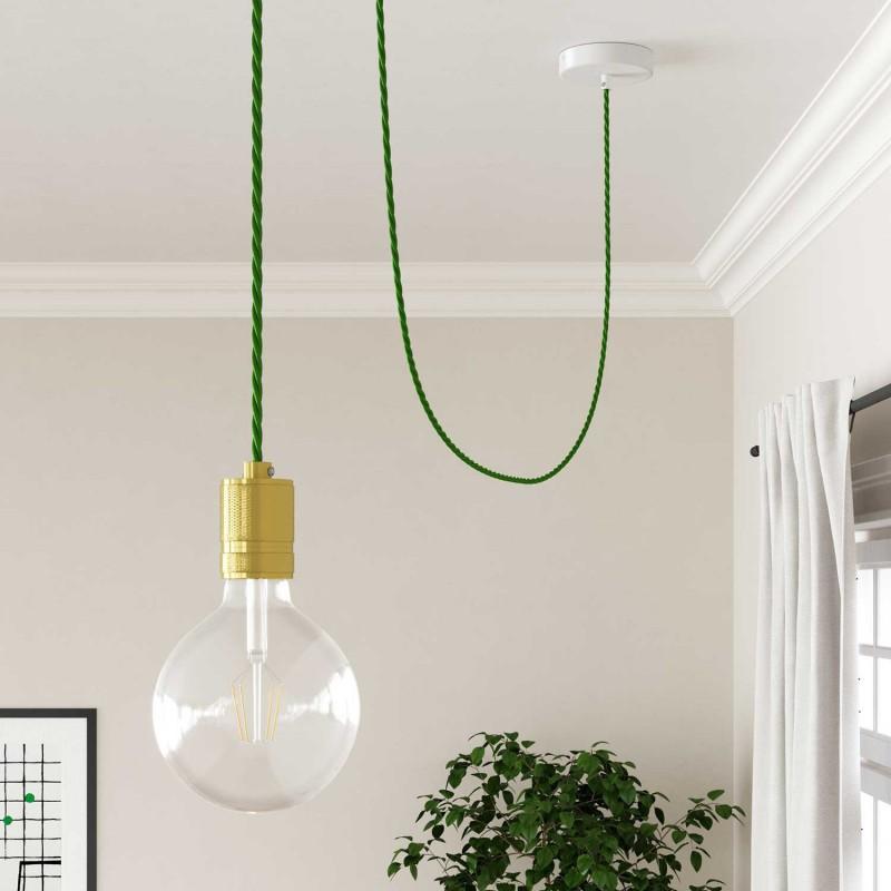 Stočený textilný elektrický kábel, umelý hodváb, jednofarebný, TM06 Zelená