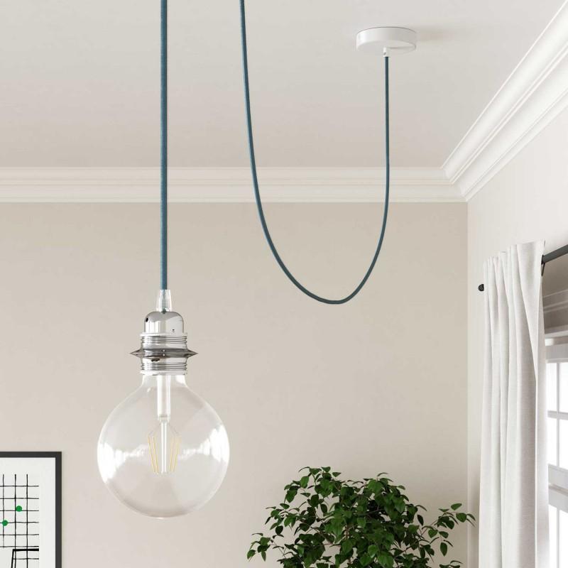 Okrúhly textilný elektrický kábel, umelý hodváb, jednofarebný, RM17 Azúrová