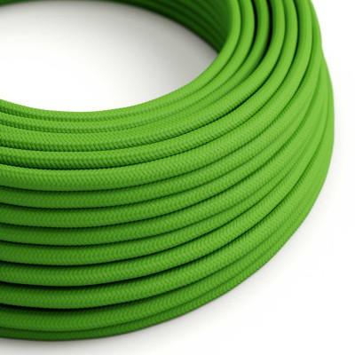 Okrúhly textilný elektrický kábel, umelý hodváb, jednofarebný, RM18 Limetková zelená
