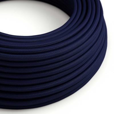 Okrúhly textilný elektrický kábel, umelý hodváb, jednofarebný, RM20 Tmavo modrá