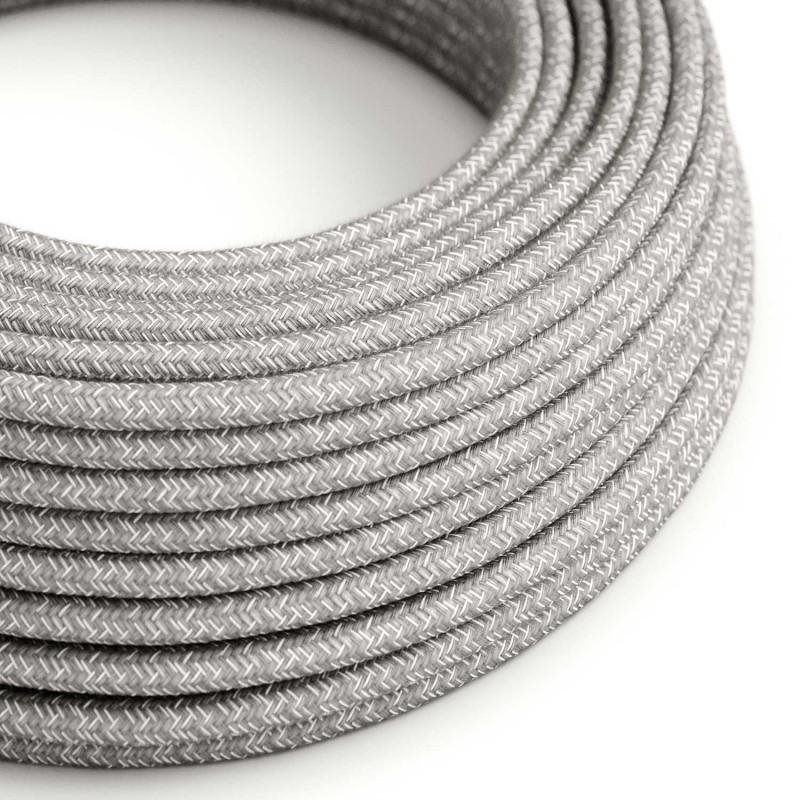 Okrúhly textilný elektrický kábel, ľan, prírodná šedá farba RN02