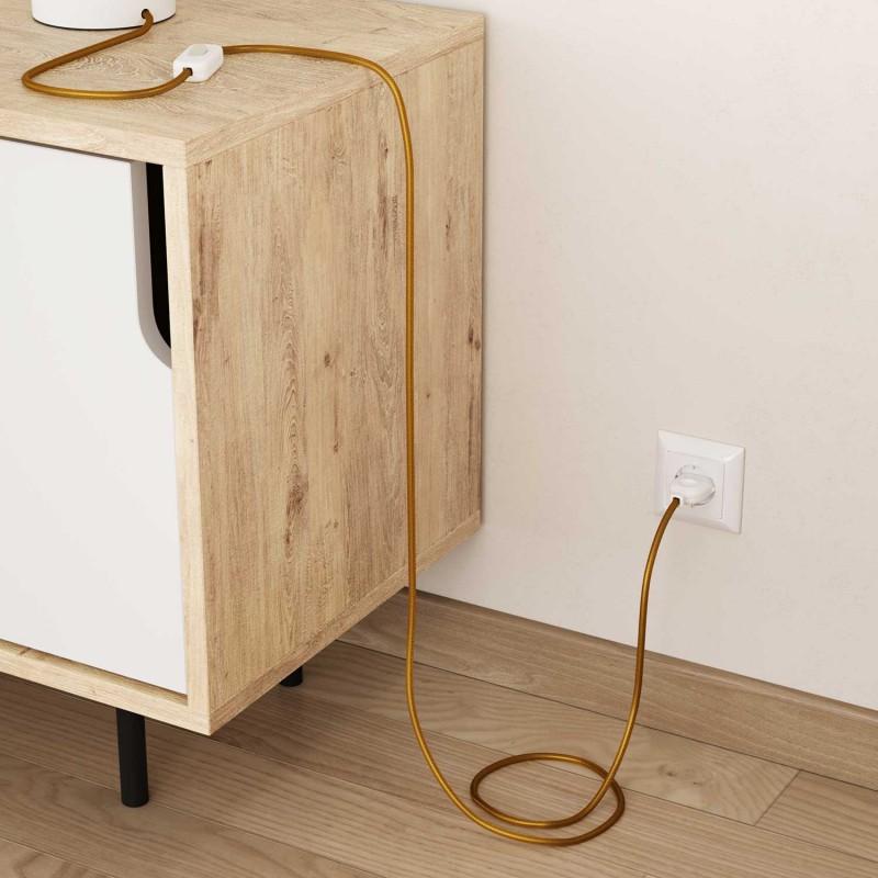 Okrúhly textilný elektrický kábel, umelý hodváb, jednofarebný, RM05 Zlatá
