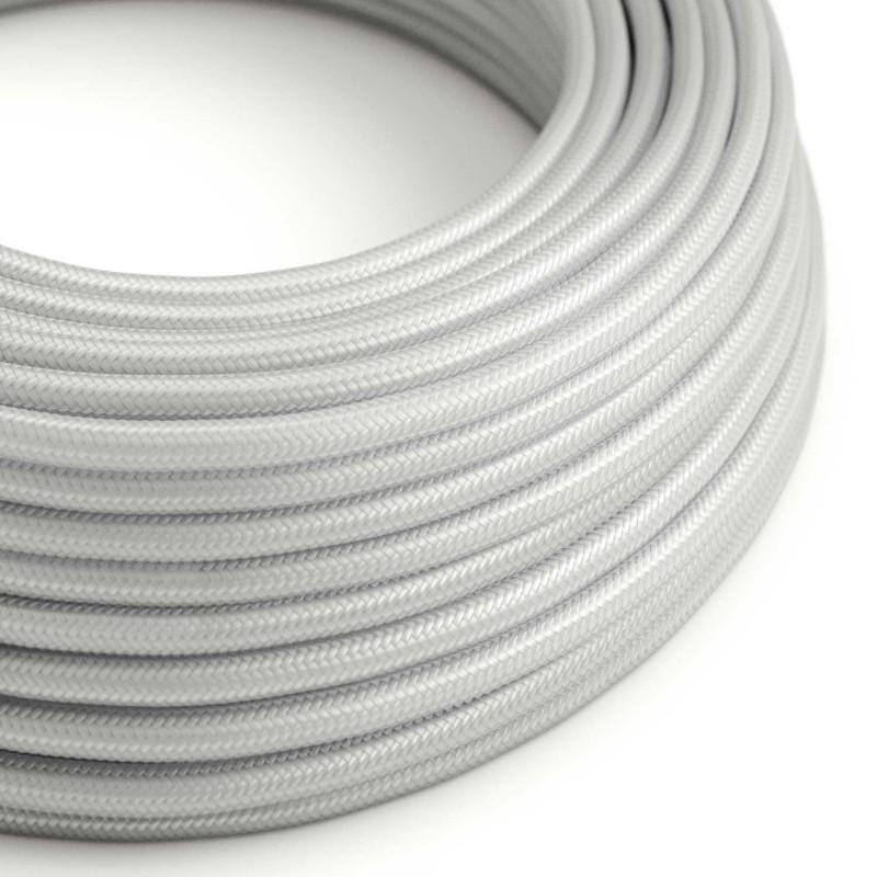 Okrúhly textilný elektrický kábel, umelý hodváb, jednofarebný, RM02 Strieborná