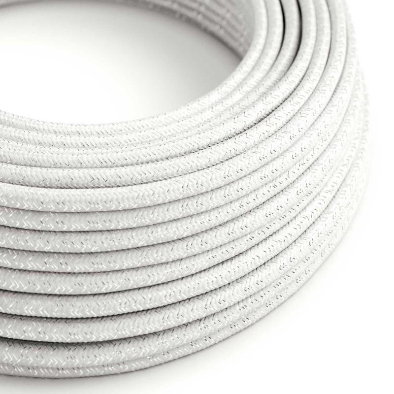 Okrúhly textilný elektrický kábel - lesklý, umelý hodváb, jednofarebný, RL01 Biela