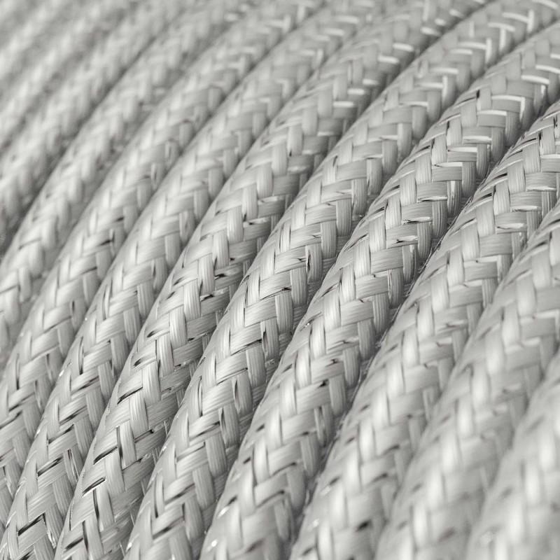 Okrúhly textilný elektrický kábel - lesklý, umelý hodváb, jednofarebný, RL02 Strieborná