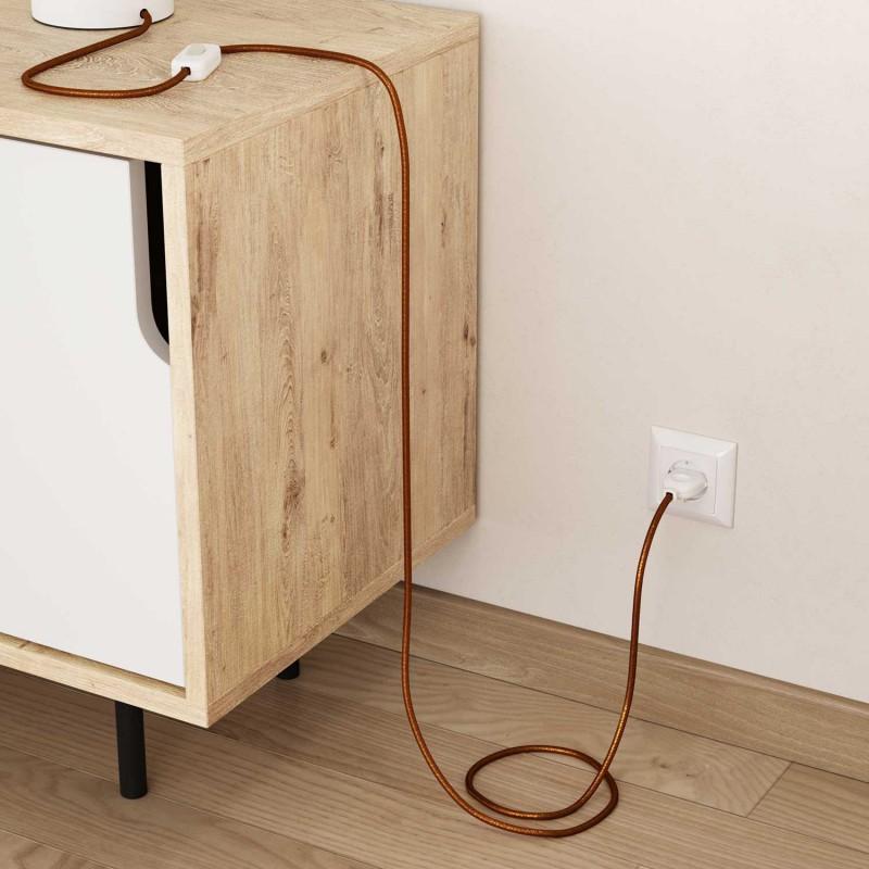 Okrúhly textilný elektrický kábel - lesklý, umelý hodváb, jednofarebný, RL22 Medená
