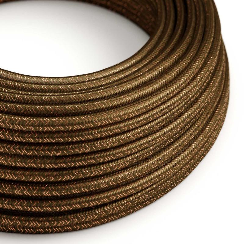 Okrúhly textilný elektrický kábel - lesklý, umelý hodváb, jednofarebný, RL13 Hnedá