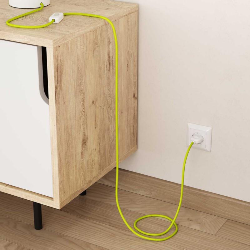 Okrúhly textilný elektrický kábel, umelý hodváb, jednofarebný, RF10 Fluo žltá