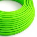 Okrúhly textilný elektrický kábel, umelý hodváb, jednofarebný, RF06 Fluo zelená