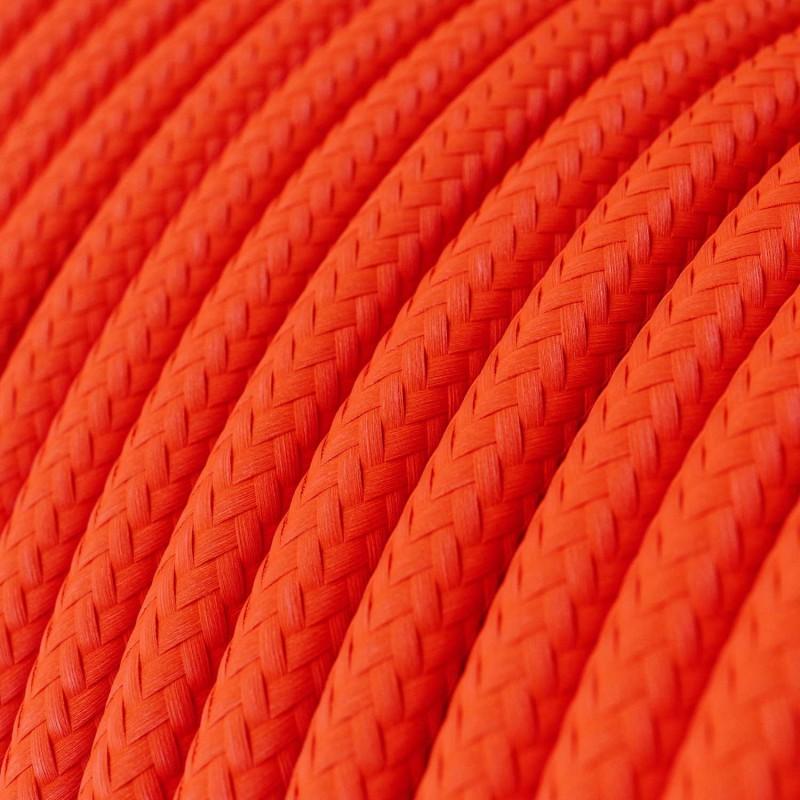 Okrúhly textilný elektrický kábel, umelý hodváb, jednofarebný, RF15 Fluo oranžová