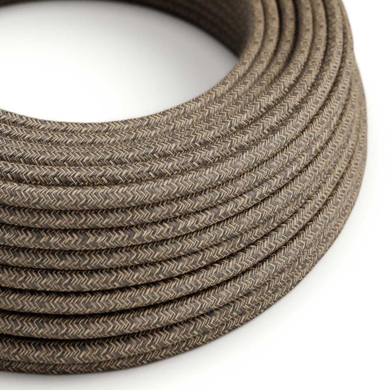 Okrúhly textilný elektrický kábel, ľan, prírodná hnedá farba RN04
