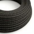Okrúhly textilný elektrický kábel, ľan, prírodná antracitová farba RN03