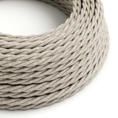 Stočený textilný elektrický kábel, ľan, prírodná neutrálna farba TN01