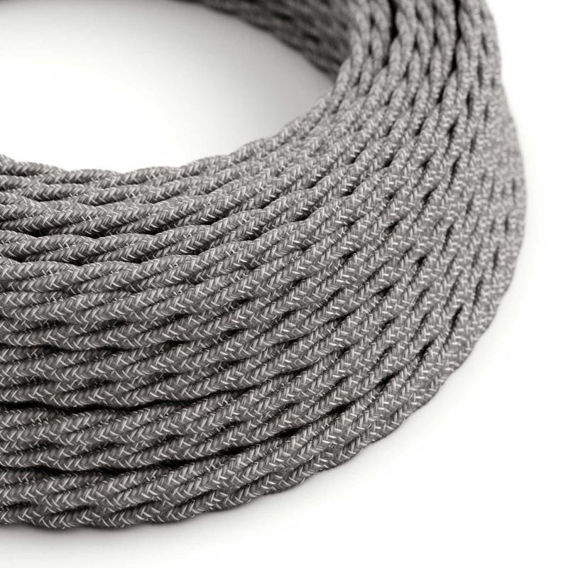 Stočený textilný elektrický kábel, ľan, prírodná šedá farba TN02