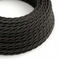 Stočený textilný elektrický kábel, ľan, prírodná antracitová farba TN03