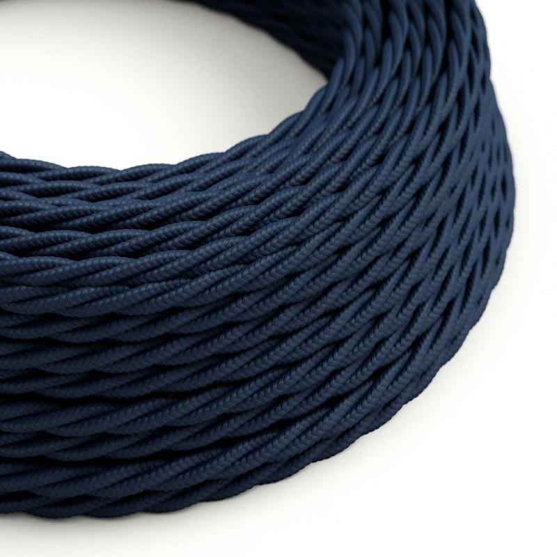 Stočený textilný elektrický kábel, umelý hodváb, jednofarebný, TM20 Tmavomodá