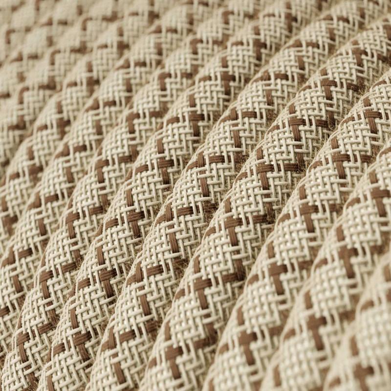 Okrúhly textilný elektrický kábel, bavlna - kosoštvorce kôrová farba, ľan prírodná neutrálna farba RD63