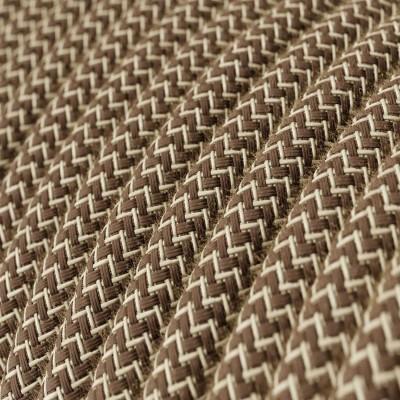 Okrúhly textilný elektrický kábel, bavlna - CikCak kôrová farba, ľan prírodná neutrálna farba RD73