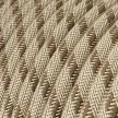 Okrúhly textilný elektrický kábel, bavlna - pruhy kôrová farba, ľan prírodná neutrálna farba RD53