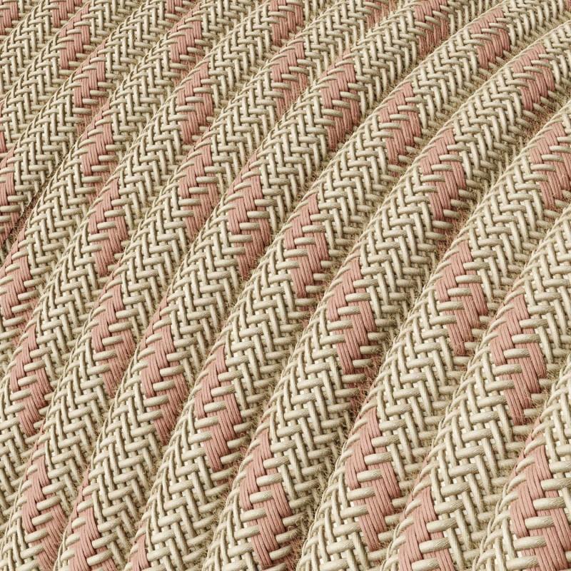 Okrúhly textilný elektrický kábel, bavlna - pruhy staroružová farba, ľan prírodná neutrálna farba RD51