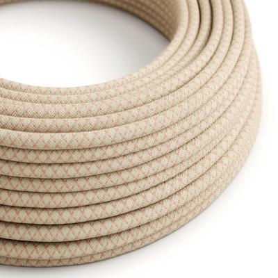 Okrúhly textilný elektrický kábel, bavlna - kosoštvorce staroružová farba, ľan prírodná neutrálna farba RD61