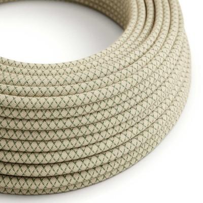 Okrúhly textilný elektrický kábel, bavlna - kosoštvorce tymiánová zelená farba, ľan prírodná neutrálna farba RD62
