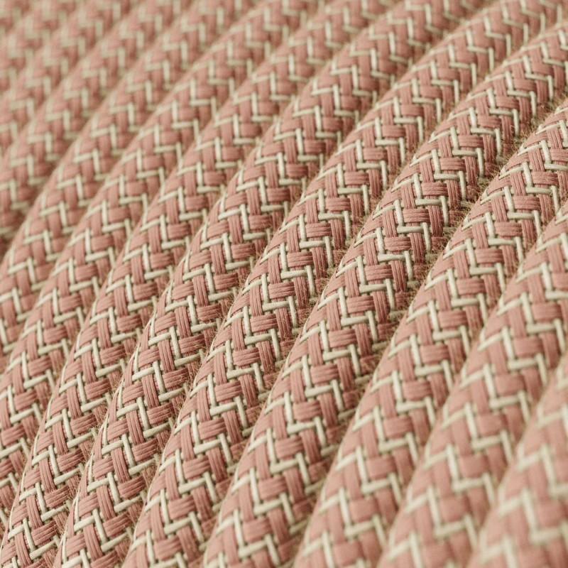 Okrúhly textilný elektrický kábel, bavlna - CikCak staroružová farba, ľan prírodná neutrálna farba RD71