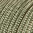 Okrúhly textilný elektrický kábel, bavlna - CikCak tymiánová zelená farba, ľan prírodná neutrálna farba RD72