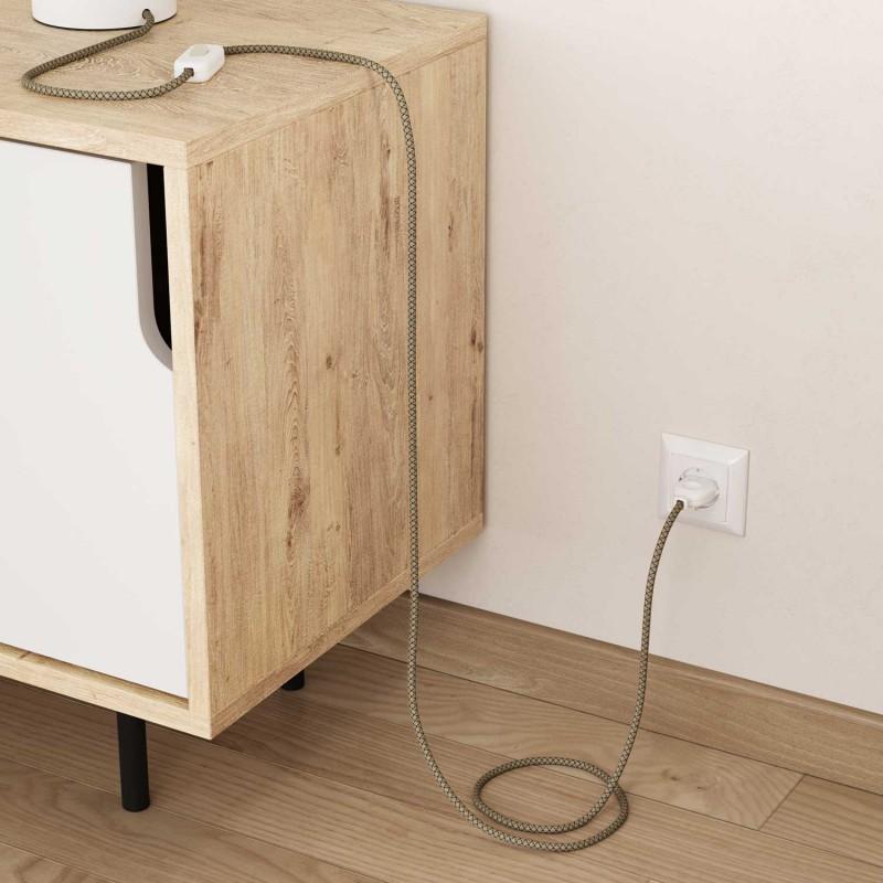 Okrúhly textilný elektrický kábel, bavlna - kosoštvorce antracitová farba, ľan prírodná neutrálna farba RD64