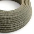Okrúhly textilný elektrický kábel, bavlna - CikCak antracitová farba, ľan prírodná neutrálna farba RD74