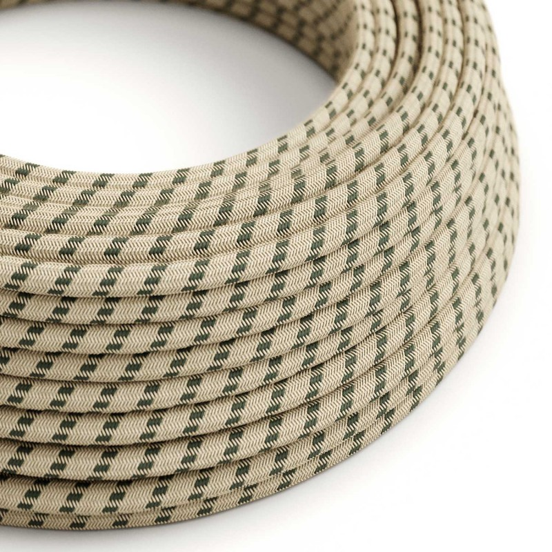 Okrúhly textilný elektrický kábel, bavlna - pruhy antracitová farba, ľan prírodná neutrálna farba RD54
